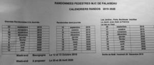 Planning randonnée 2019-2020